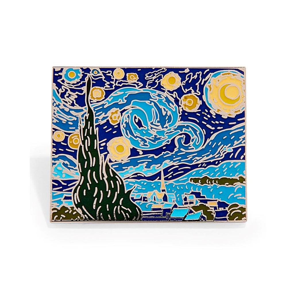 An enamel pin featuring a version of Vincent Van Gogh's artwork Starry Night.