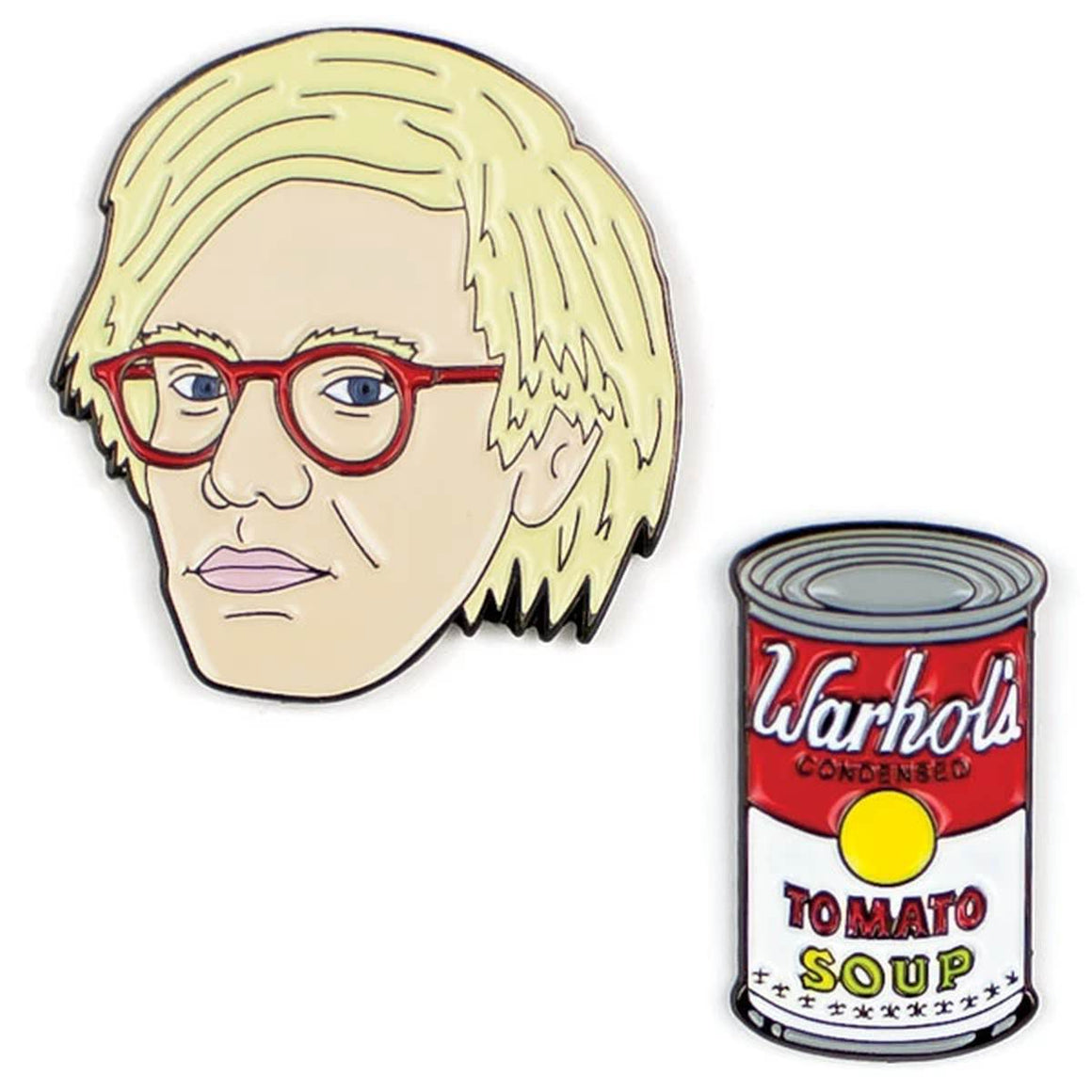 A set of two Enamel pins. One is a portrait of Andy Warhol, the other a Tomato Soup Can
