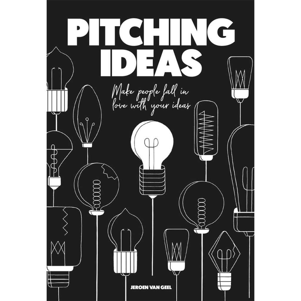 A black and white book cover featuring illustrations of various vintage light bulbs in assorted shapes