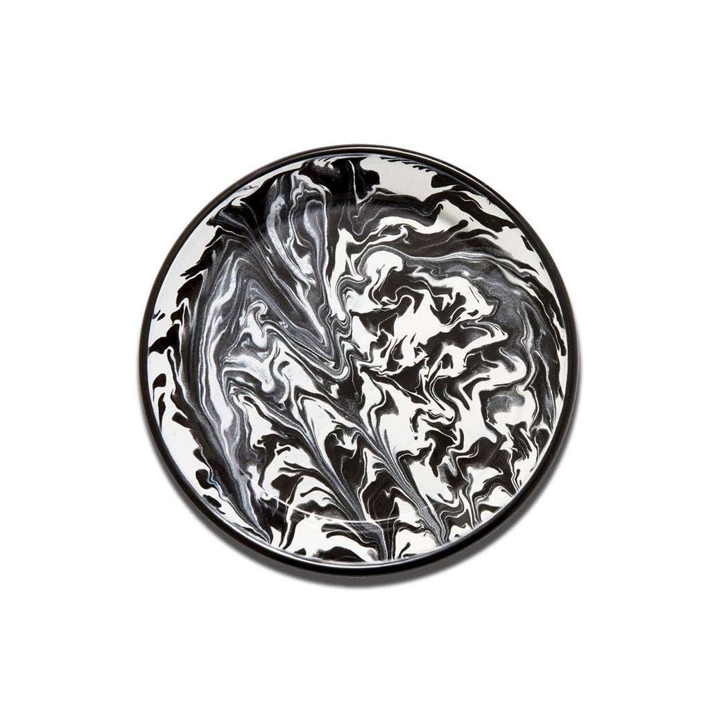 An enamel plate with beautiful marbled enamel in a range of contrasting tones of black and white.