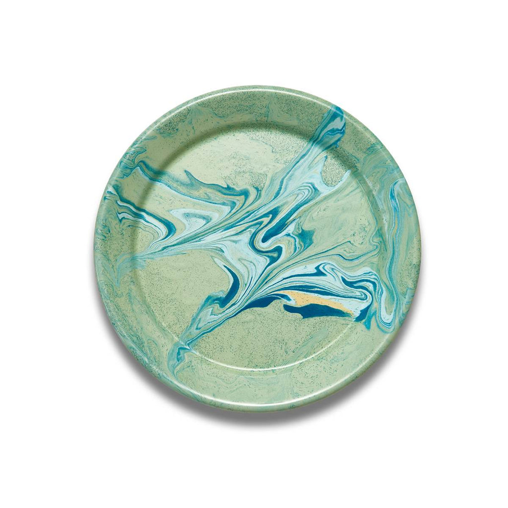 An enamel plate with beautiful marbled enamel in a range of contrasting tones of Turqouise, Green and light blue on a Mint Green Base.