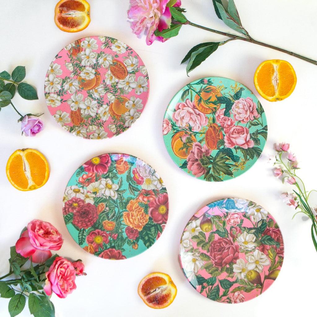 Plate | Floral Explosion | White Flowers & Oranges on Pink