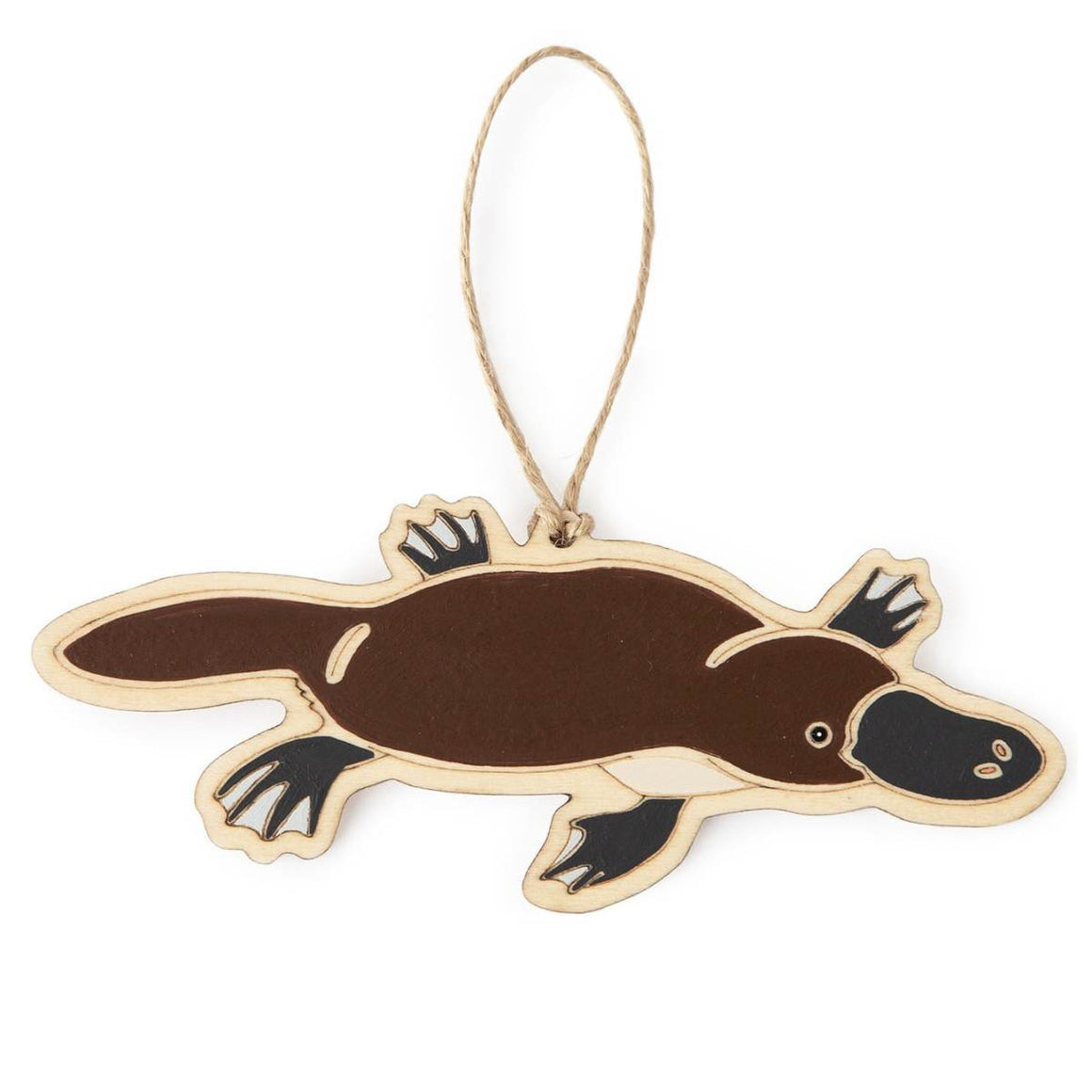 A hanging ornament in the form of a Platypus. Laser Etched flat wood is adorned with brown, black and white hand painting. A Jute string is attached