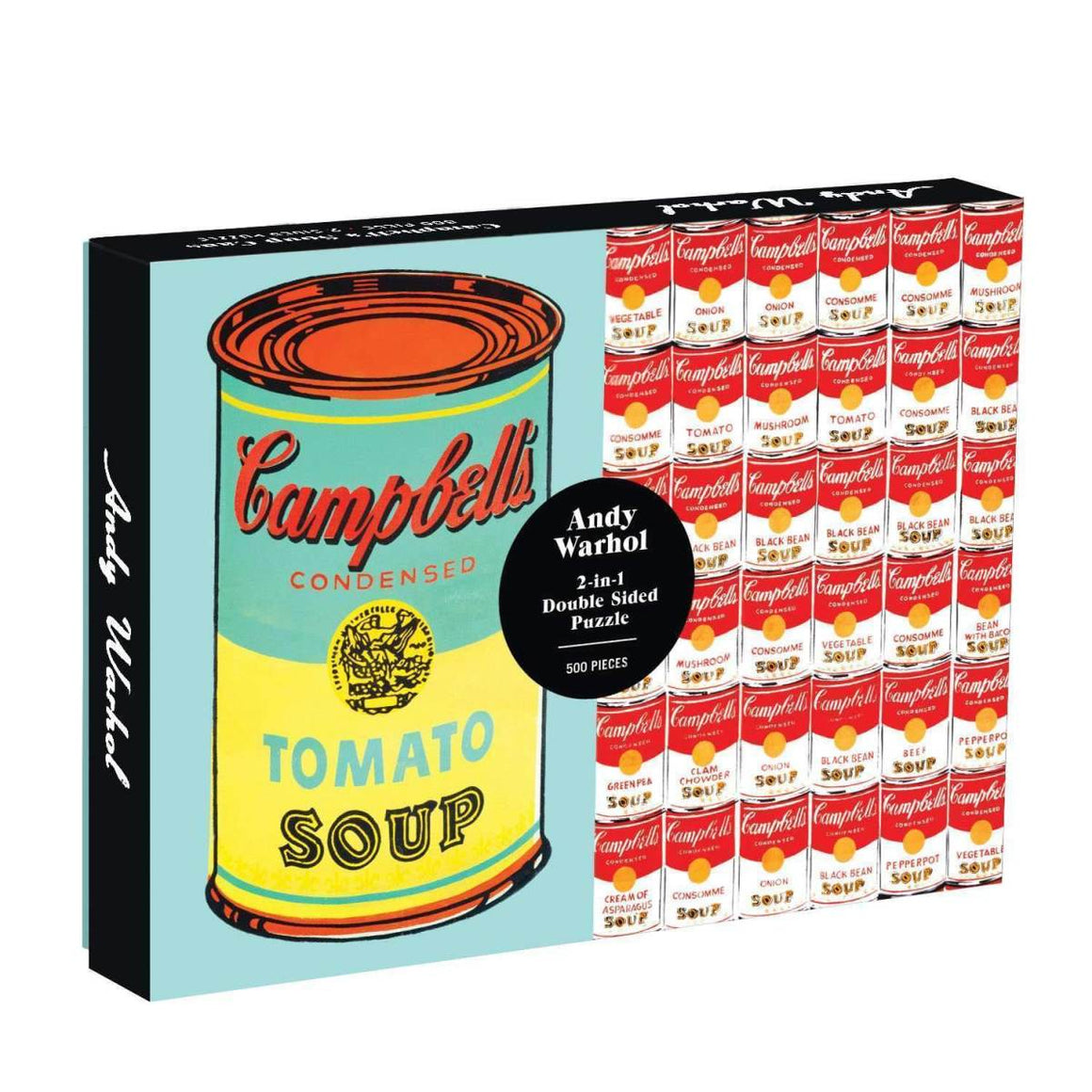 A boxed double sided 500 piece puzzle. The cover displays an image of the two puzzles, one a large green and yellow tones Andy Warhol Tomato Soup Print. The other a collection of stacked Campbell soup cans in different flavours.