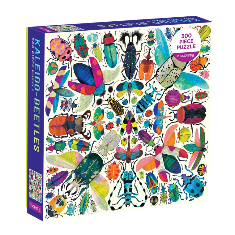 A colourful Puzzle box, featuring a Kaleidoscope like image of a range of vibrant and detailed beetles.