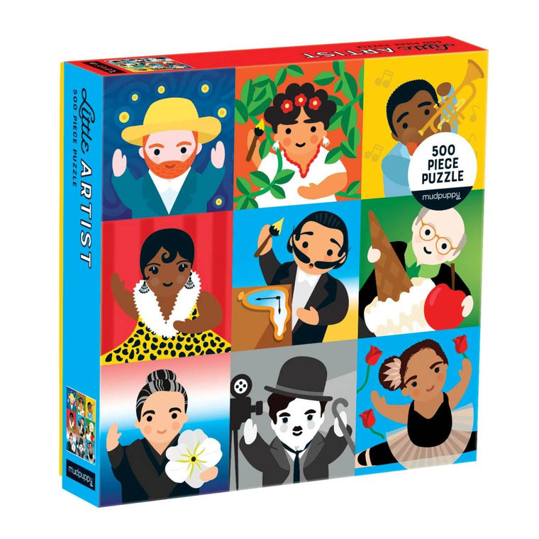 A boxed 500 piece puzzle. The cover of the box shows nine iconic artists and personalities illustrated as children.