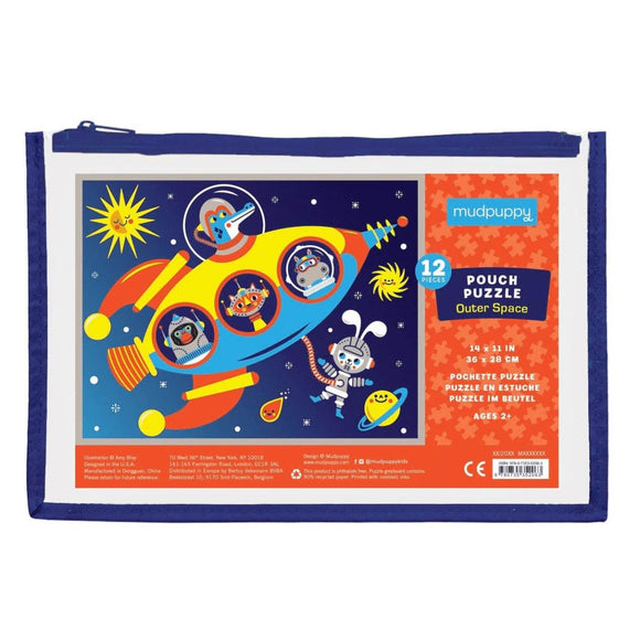 A small 12 piece children's puzzle - animal astronauts in a spaceship - contained in a brightly coloured Zip up pouch.
