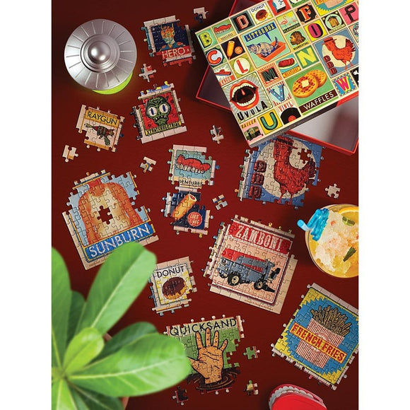A rectangular puzzle featuring a vintage inspired rendering of the alphabet complete with associated illustrations.