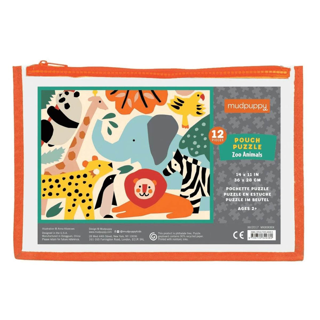 A small 12 piece children's puzzle - zoo animals - contained in a brightly coloured Zip up pouch.