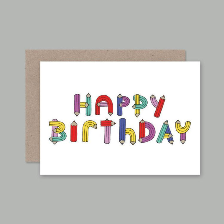 Greeting Card featuring illustration by Ruben De Hass includes the words Happy Birthday in a pencil shaped font