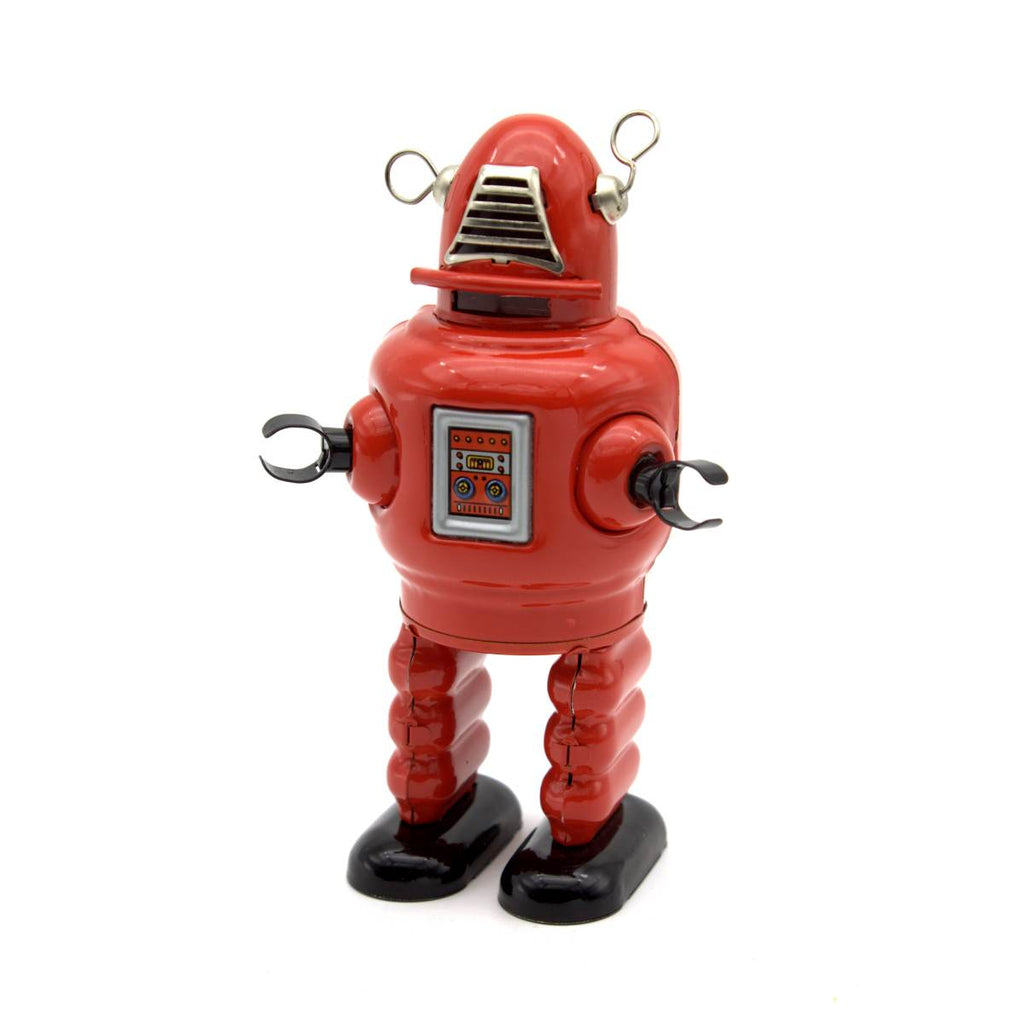 "A wind up tin toy robot, based on the iconic 1950s "" Robby the Robot Character"". It is mostly red, with black hands and feet."