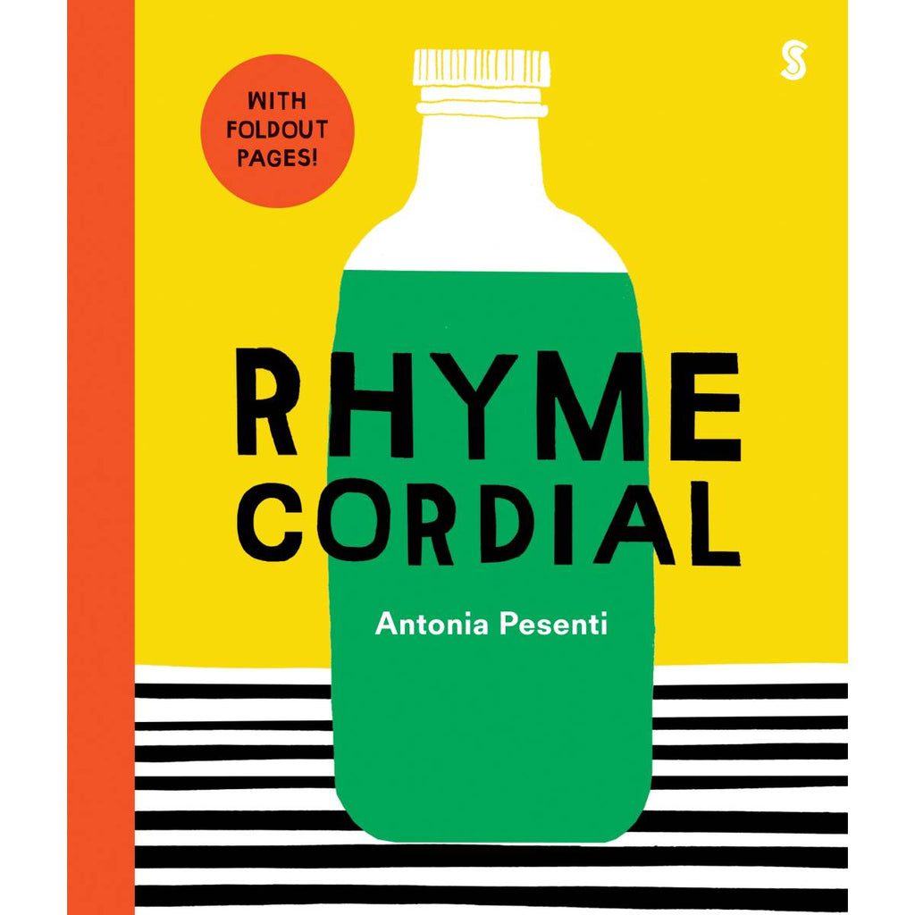 "A brightly coloured child's book cover with block art cover design of a green cordial bottle, siting on a black and white striped tablecloth. Featured text reads ""with foldout pages"""