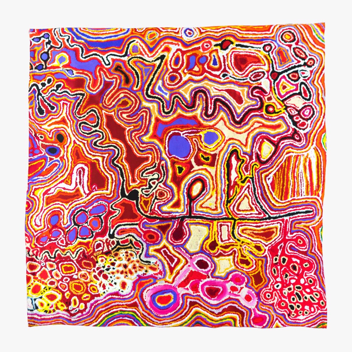 a Silk scarf , printed with an abstract Aboriginal artwork. Intensley coloured stippled lines and circles create an aerial view of country. In vibrant and contrasting tones of red, pink, orange, yellow, blue, purple, white and black.
