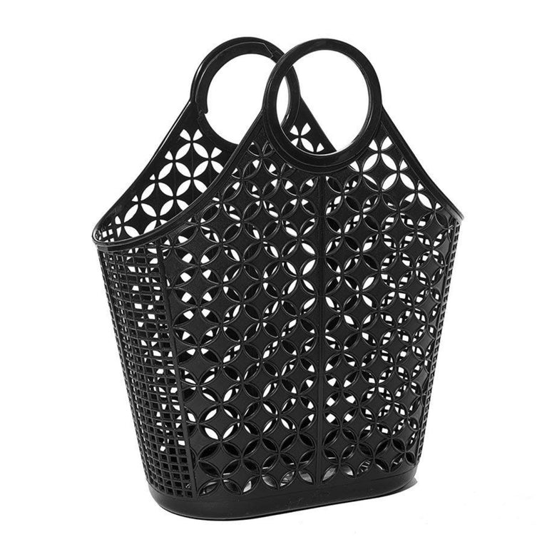 Tote bag in black featuring an atomic star pattern