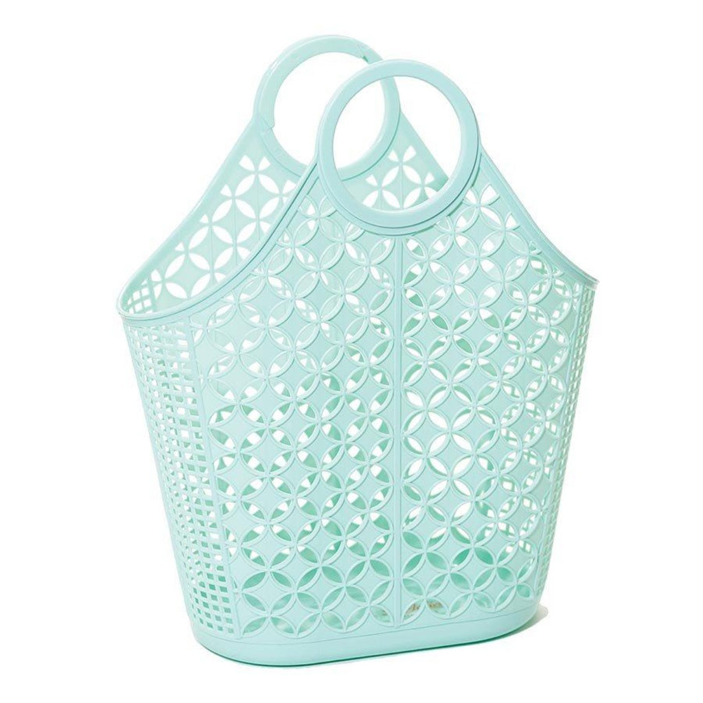 Tote bag in mint green featuring an atomic star pattern