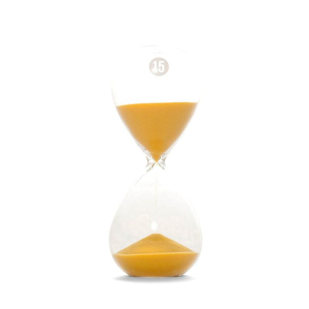 Image featuring a clear hourglass in the centre with a grey circle on the top which features 15 in the middle of it, the hourglass also includes yellow sand inside