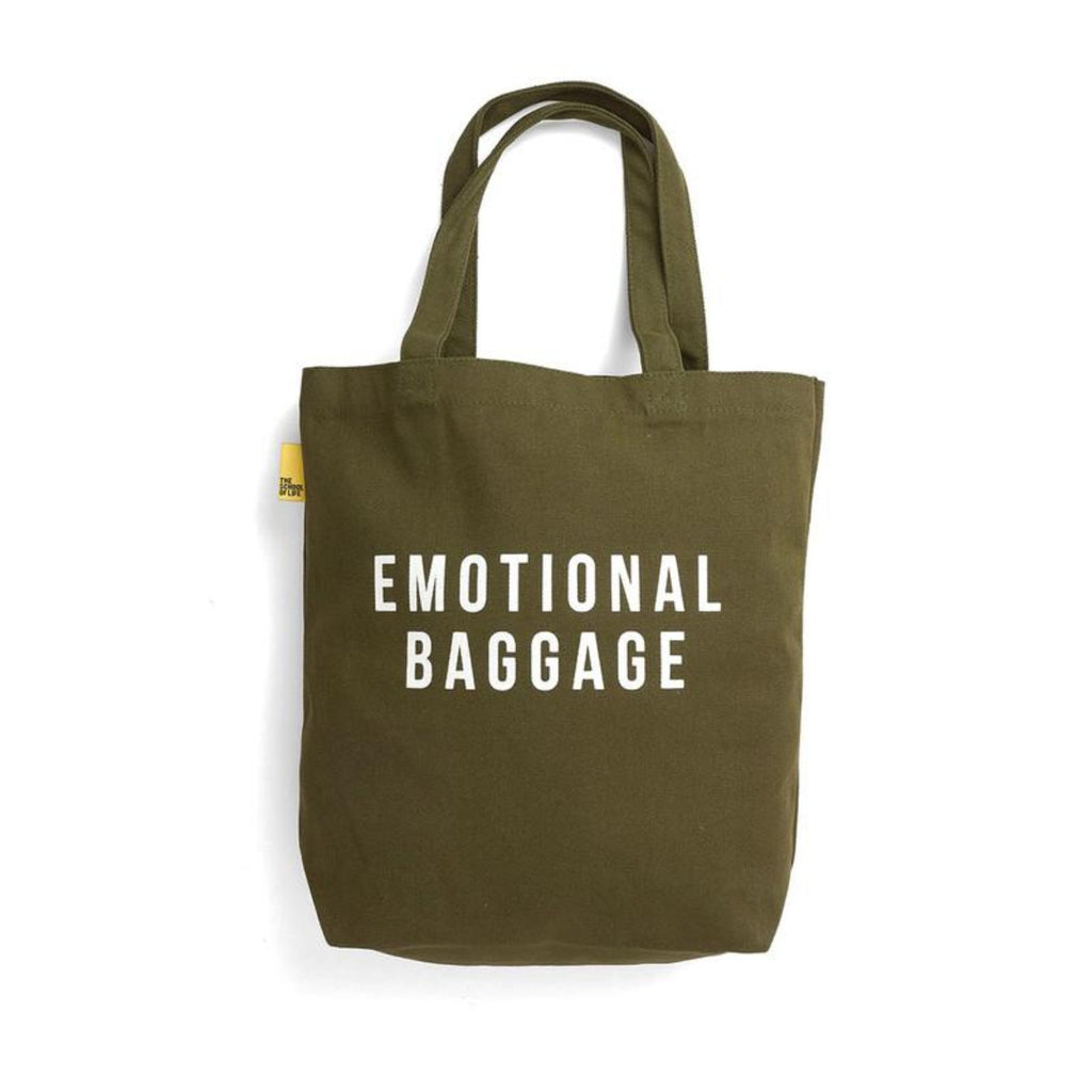 The School of Life Tote Bag in Khaki featuring the words Emotional Baggage