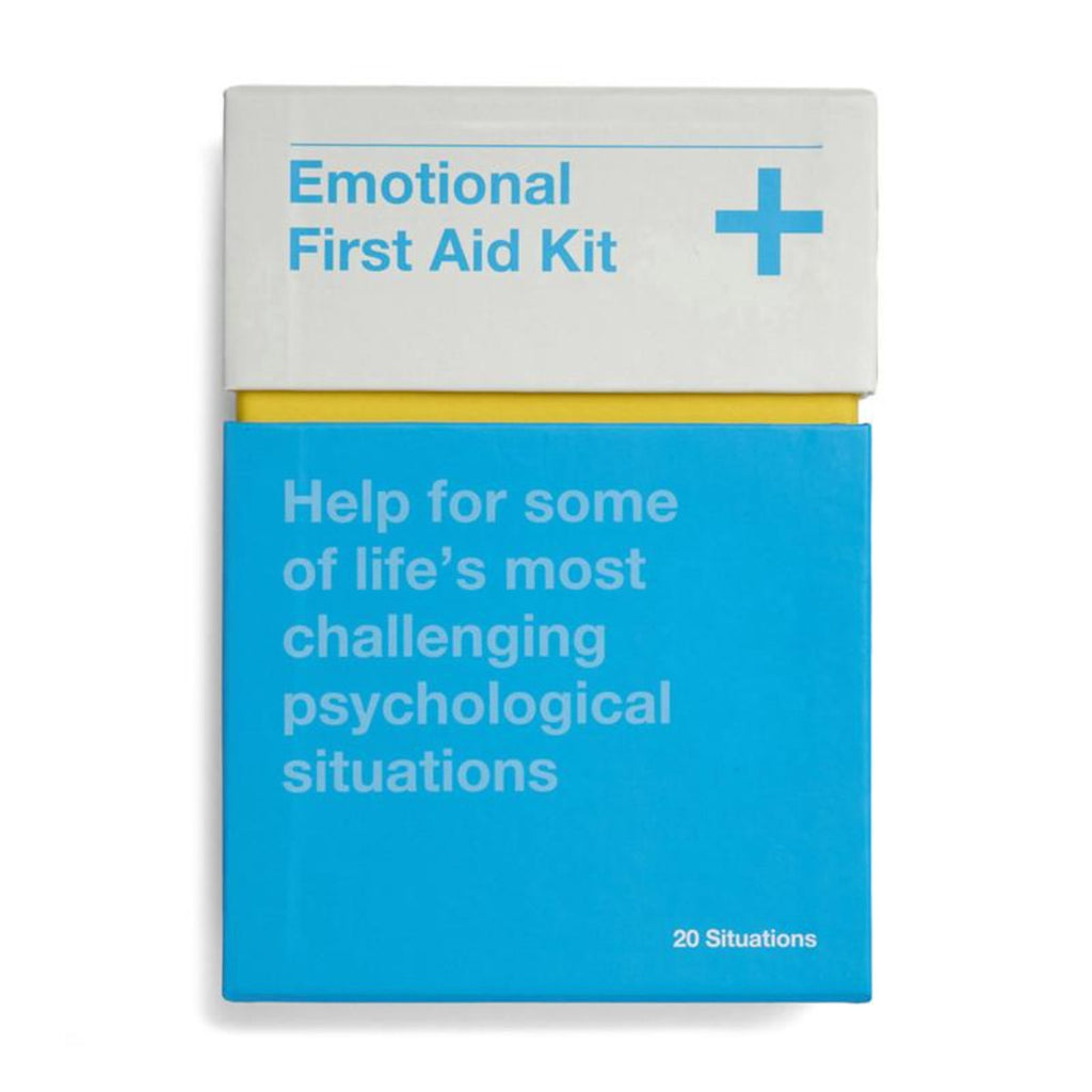 Image featuring the product in the center, the packaging has been made to appear like a medicine box with the colours grey, blue and yellow which on the box features the text Emotional First Aid Kit: Help for some of life's most challenging psychological situations