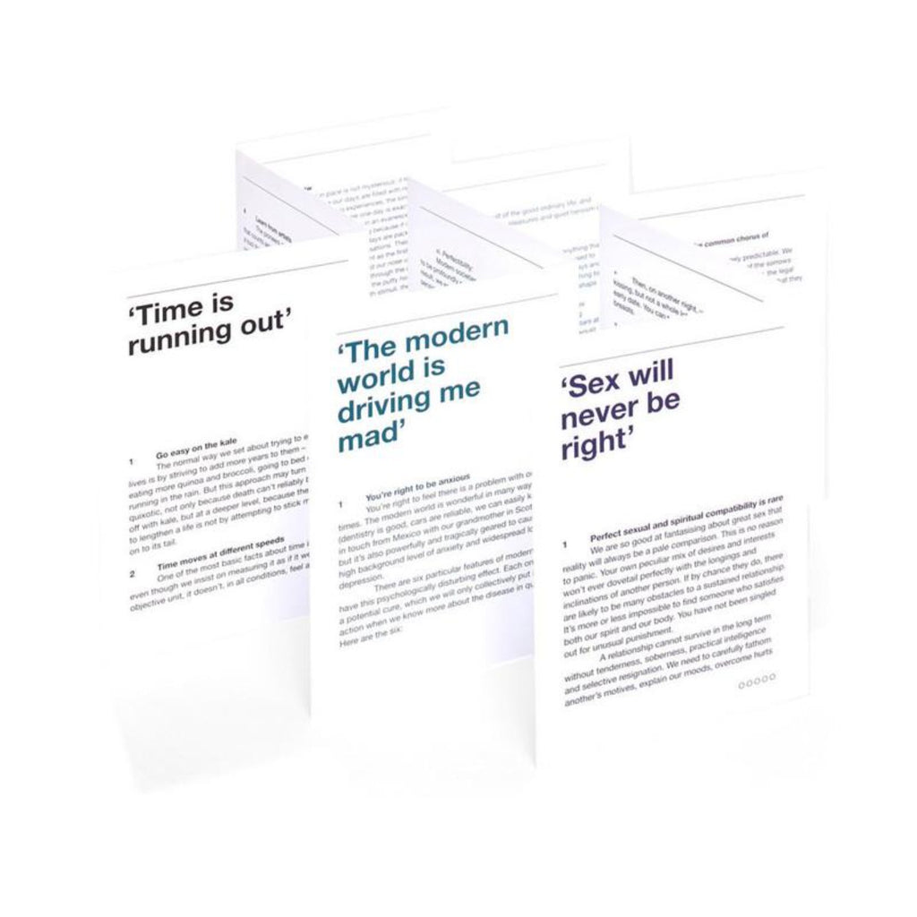 This image features three of the fold out cards available in the Emotional First Aid Kit, each featuring a different statement - 1. Time is running out, 2. The modern world is driving me mad, 3. Sex will never be right