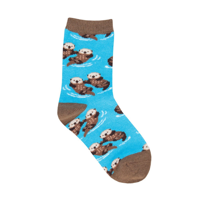 A childrens sock featuring multiple otter couples floating in water. The heel, toe and rib is in a contrasting brown.