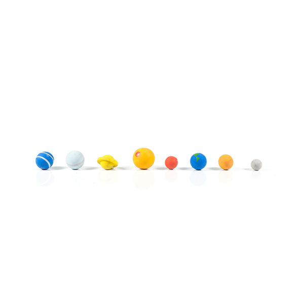 A box set of erasers in the shape of the planets of the solar system.