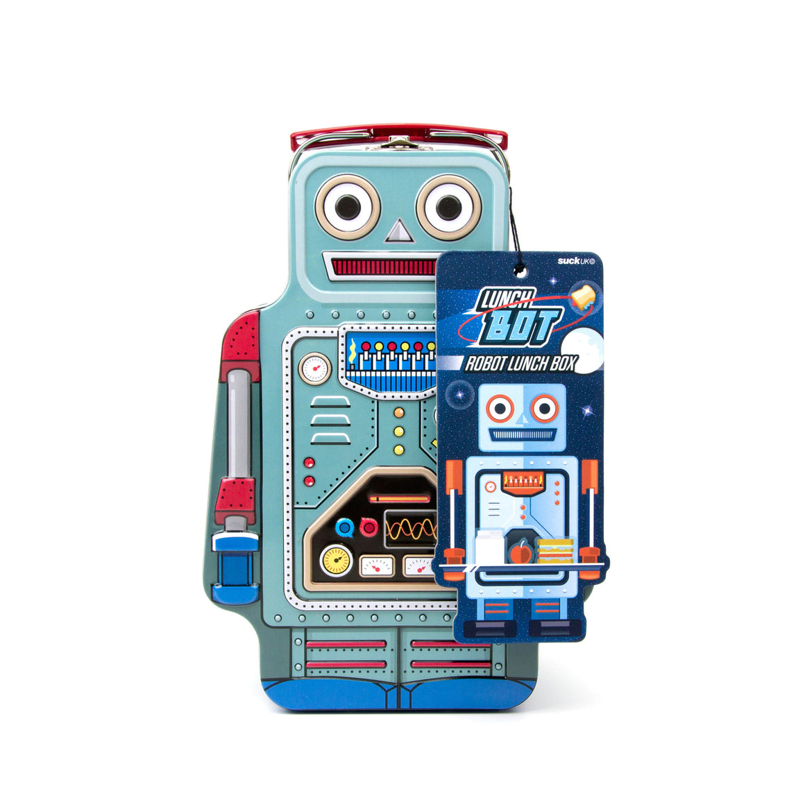 A tin lunchbox in the shape of a retro robot.