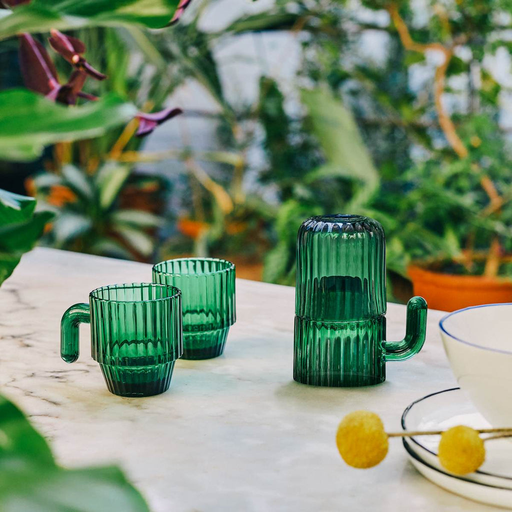 Saguaro Cactus Coffee Cup Set | Green Glass