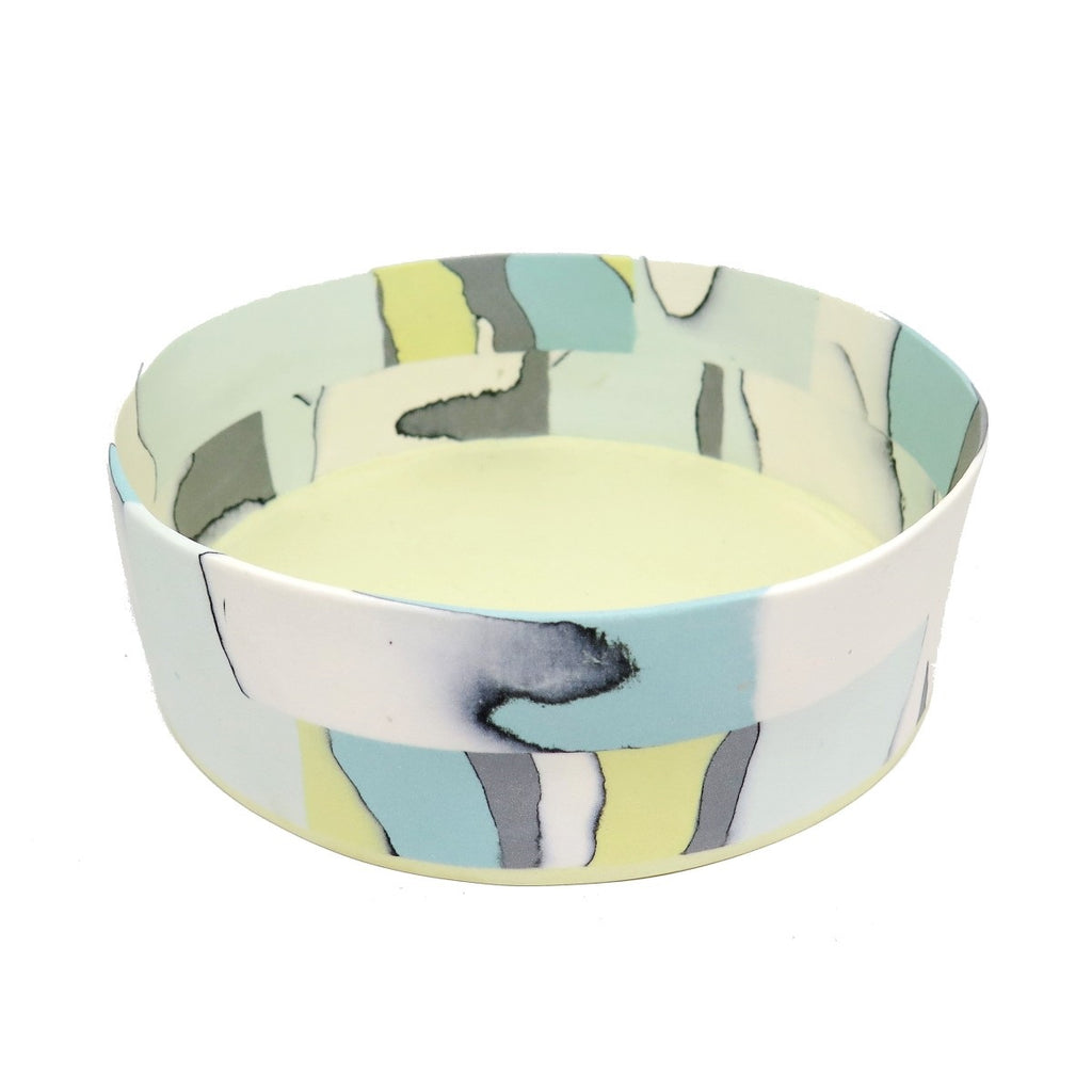 Fruit Bowl | Nerikomi | Made by Anne Mossman | Teal, Pastel Green, Yellow, Grey & White