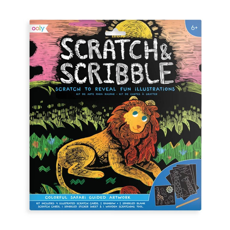 A brightly coloured scratch art kit in packaging, The cover shows an example of a lion in a field.