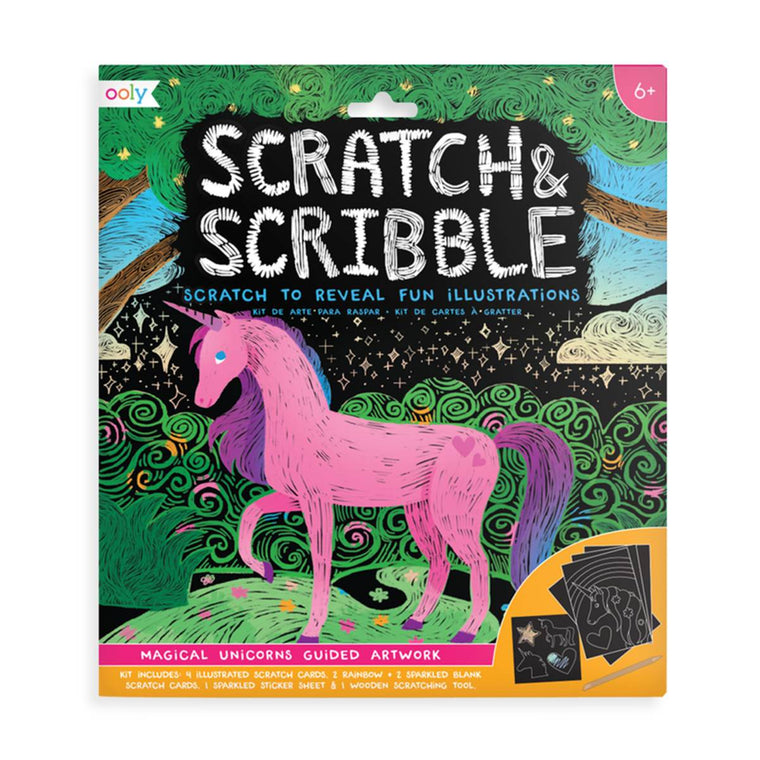 A brightly coloured scratch art kit in packaging, The cover shows an example of pink unicorn in a landscape