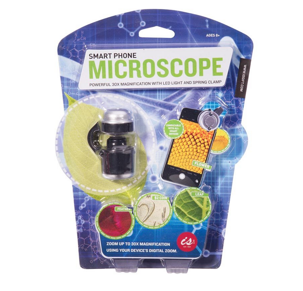 Packaging for the Smart Phone Microscope which includes microscope screenshots of various plants including a leaf, also includes the words Zoom up to box Magnification using your device's digital zoom
