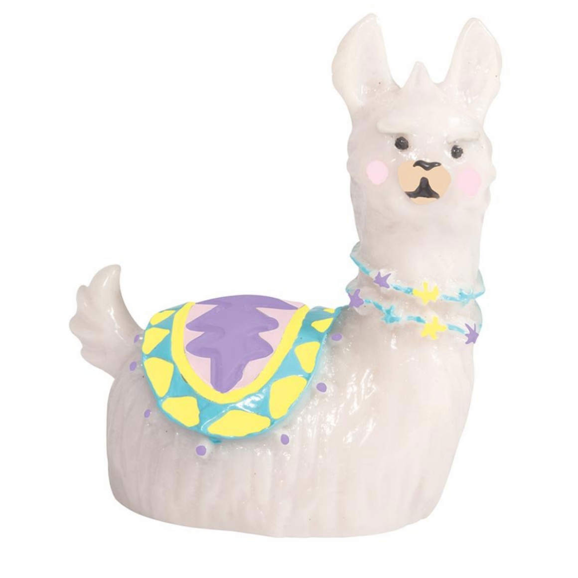 Image featuring a llama lip gloss in the centre which has a purple saddle on its back
