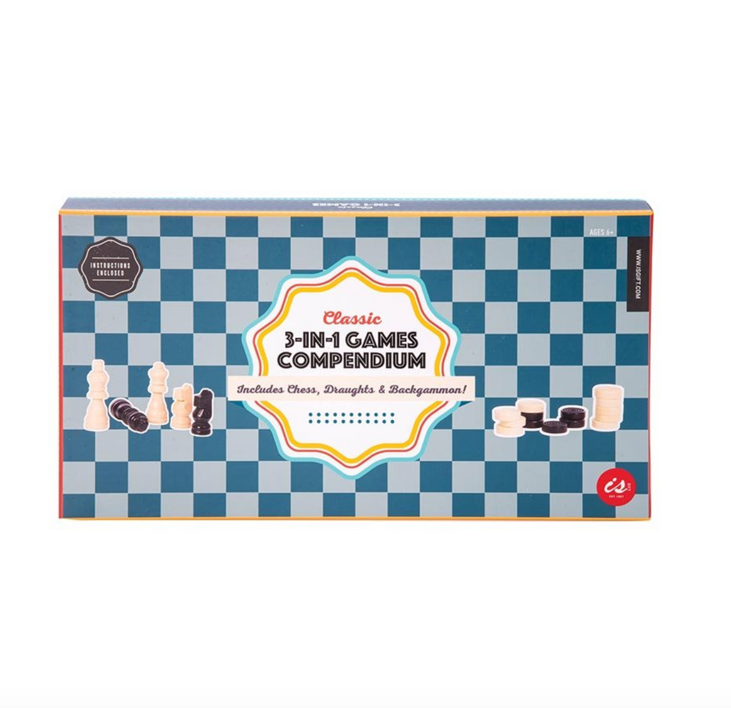 3-in-1 Games Compendium packaging featuring a classic checkered print background including chess, draughts and backgammon