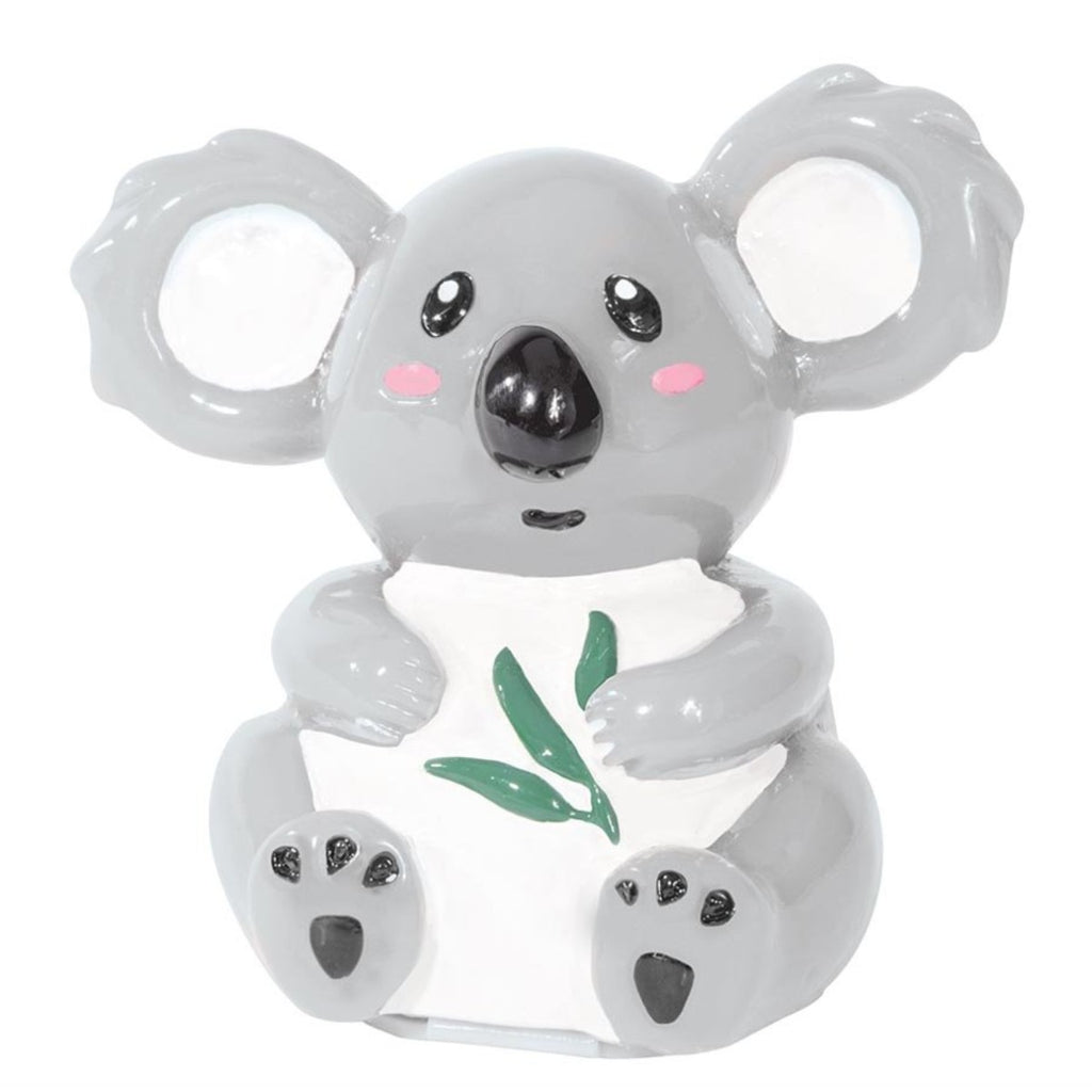 A lip balm container in the shape of a seated Koala, holding Eucalyptus leaves.