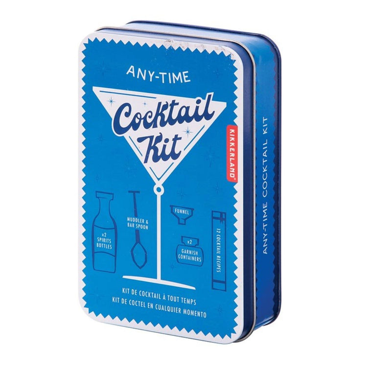 Cocktail Kit Packaging in a blue tin box, with the words Any-Time Cocktail Kit including a vintage illustration of a cocktail glass