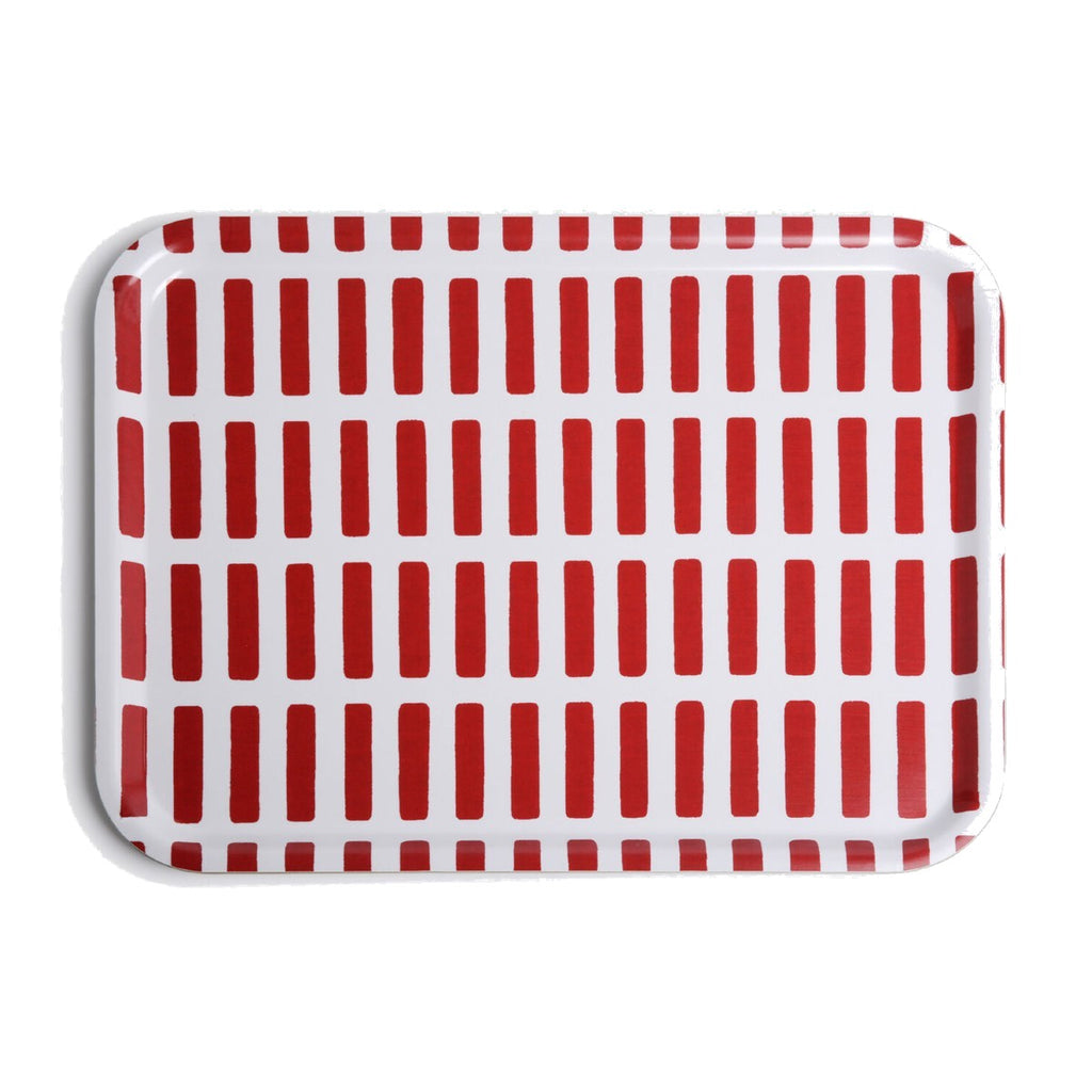 A food Service Tray featuring a bold print by Mid century designer Alvar Alto. A Grid of Red Rectangles on a white background.
