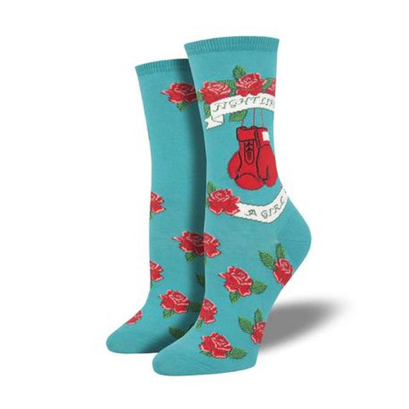 A teal coloured pair of socks featuring red roses, red boxing gloves and a white ribbon banner that reads 'fight like a girl'