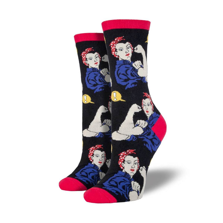 A black pair of socks featuring a repeat print of Rosie the Riveter flexing her Bicep.