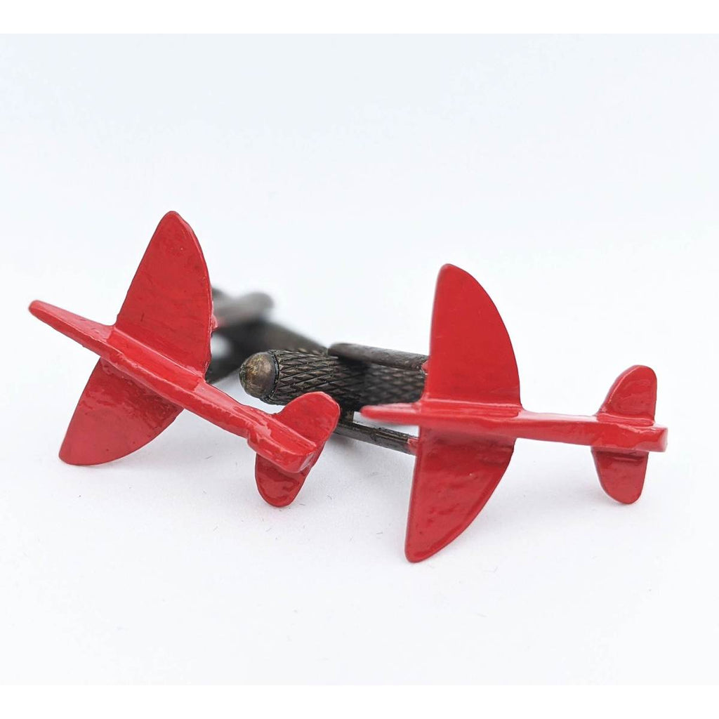 Trench Art Cufflinks | Red Spitfire Plane | Martin de Ruyter