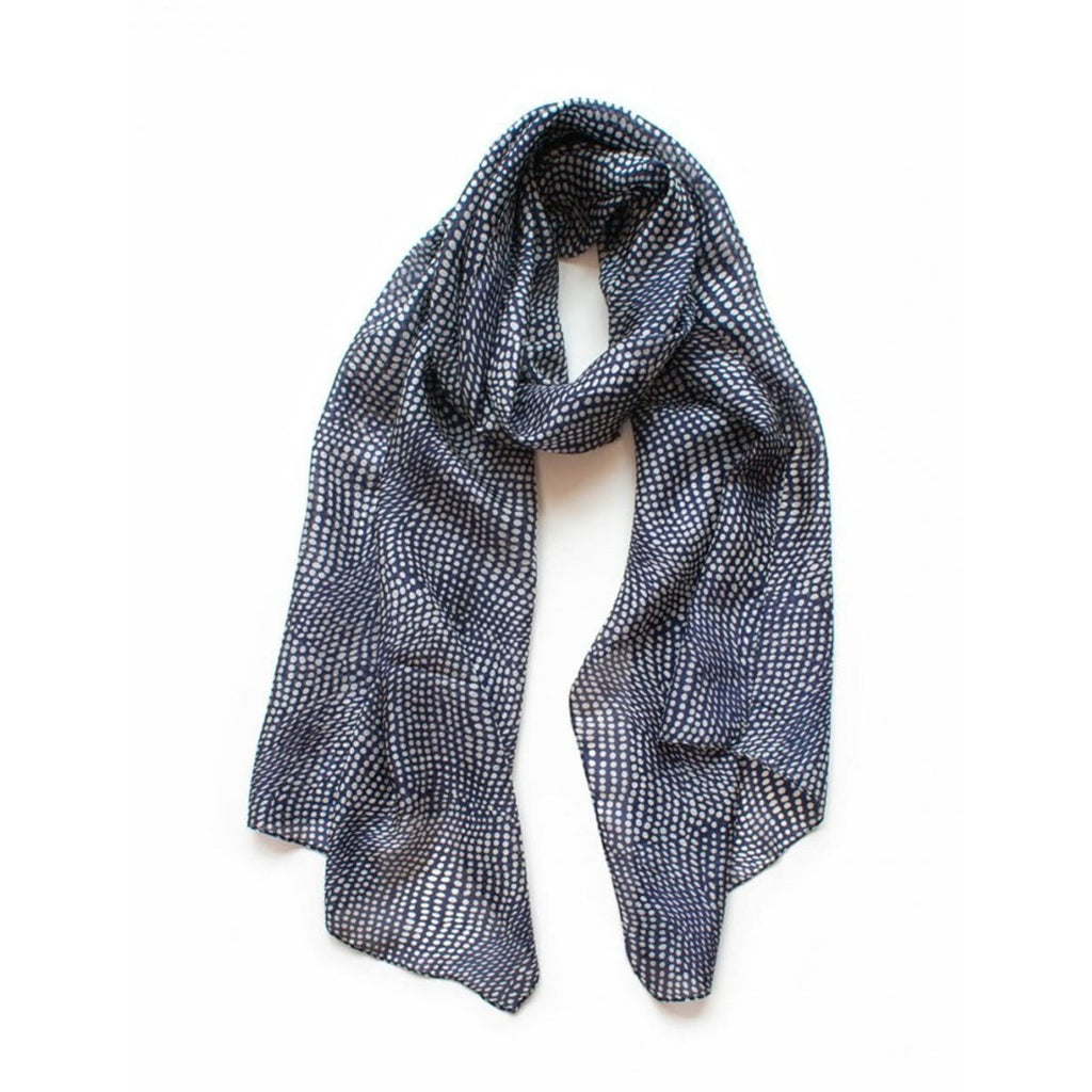 Scarf silk | Spots on navy indigo