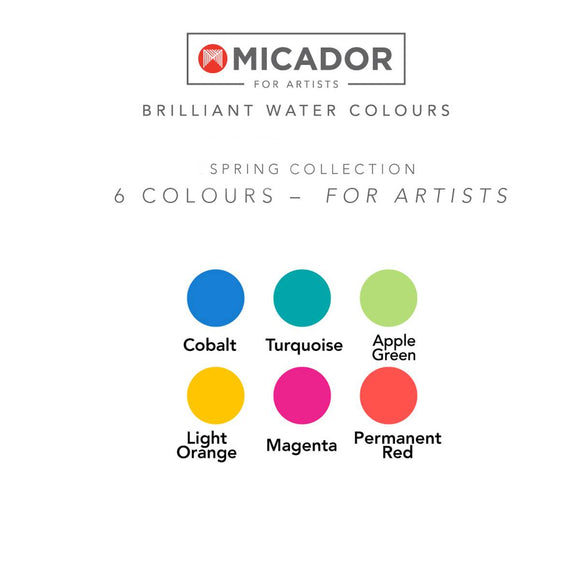 A disc of Watercolour paints in a Spring colour theme including: Cobalt, Turquoise, Apple Green, Light Orange, Magenta and Permanent Red. It is shown next to example paint sampler.