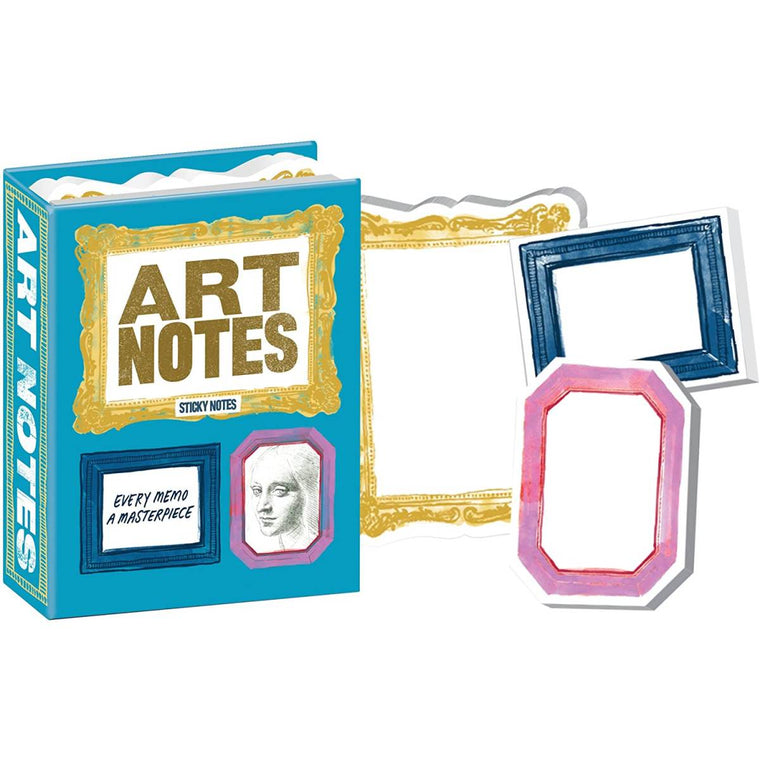 A small box of variously sized sticky notes, printed with stylish frames in various colours.