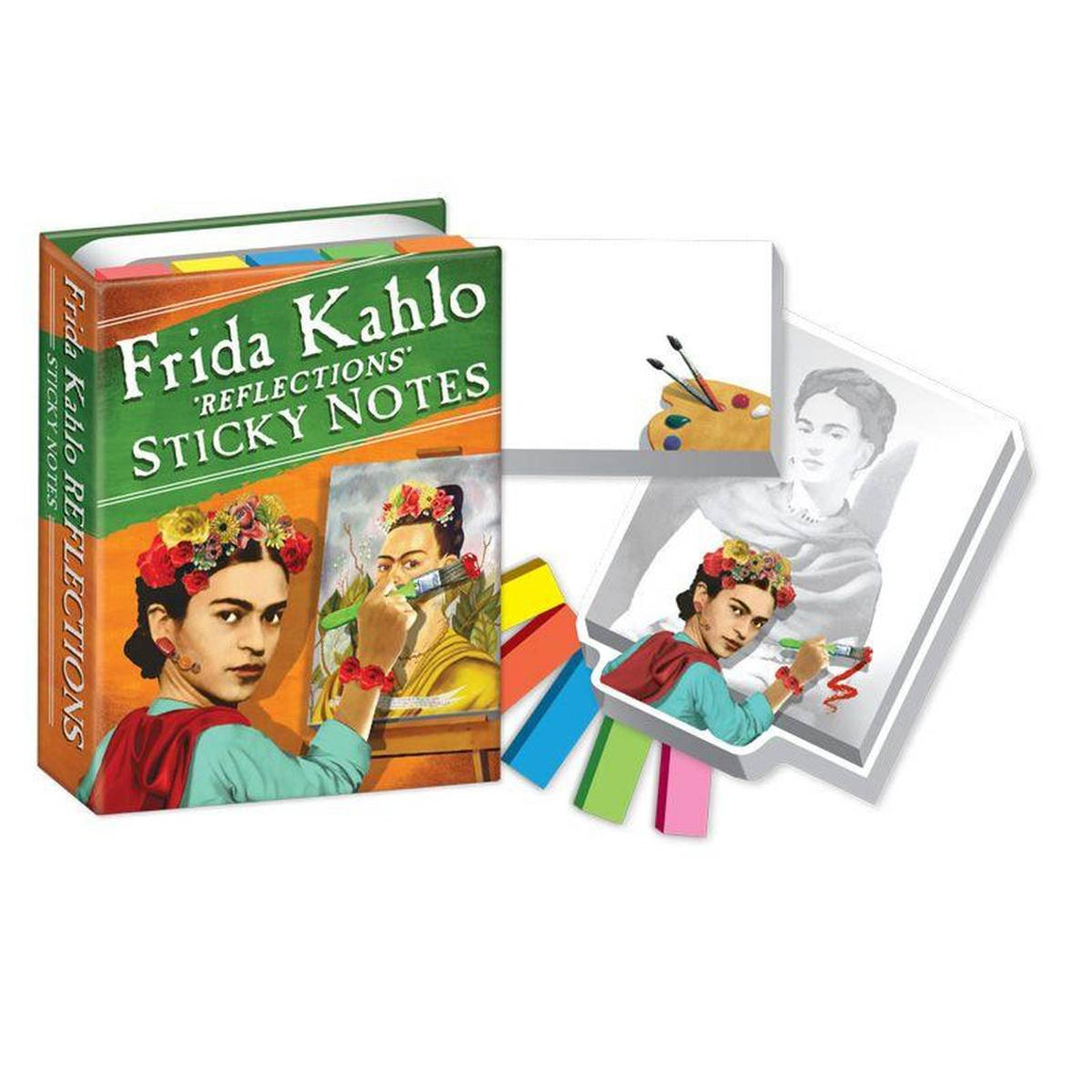 A small box of variously sized sticky notes, printed with images of Frida Kahlo.