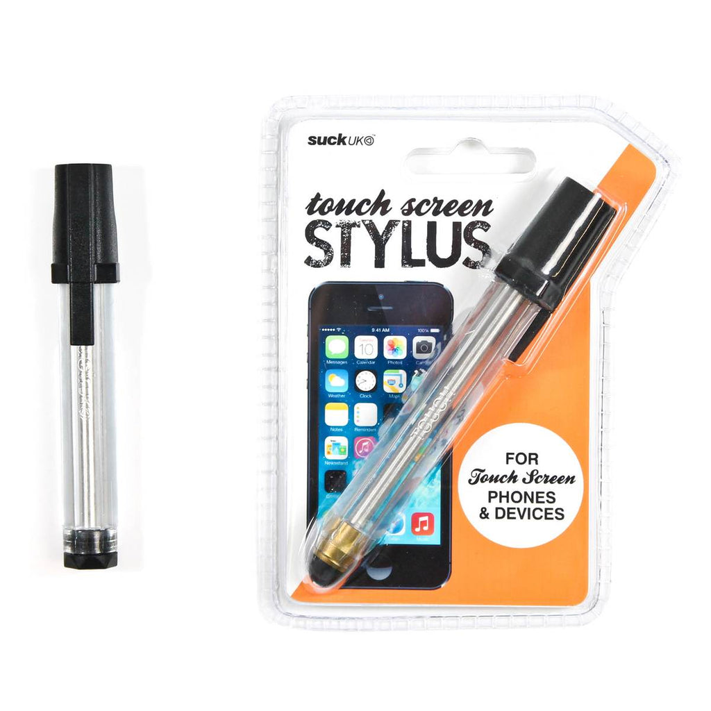 "a touchscreen stylus in the style of a traditional black ballboint pen. Clear casing, black lid and brass tip. Shown in packaging featuring the text "" for touch screen phones & decives."""