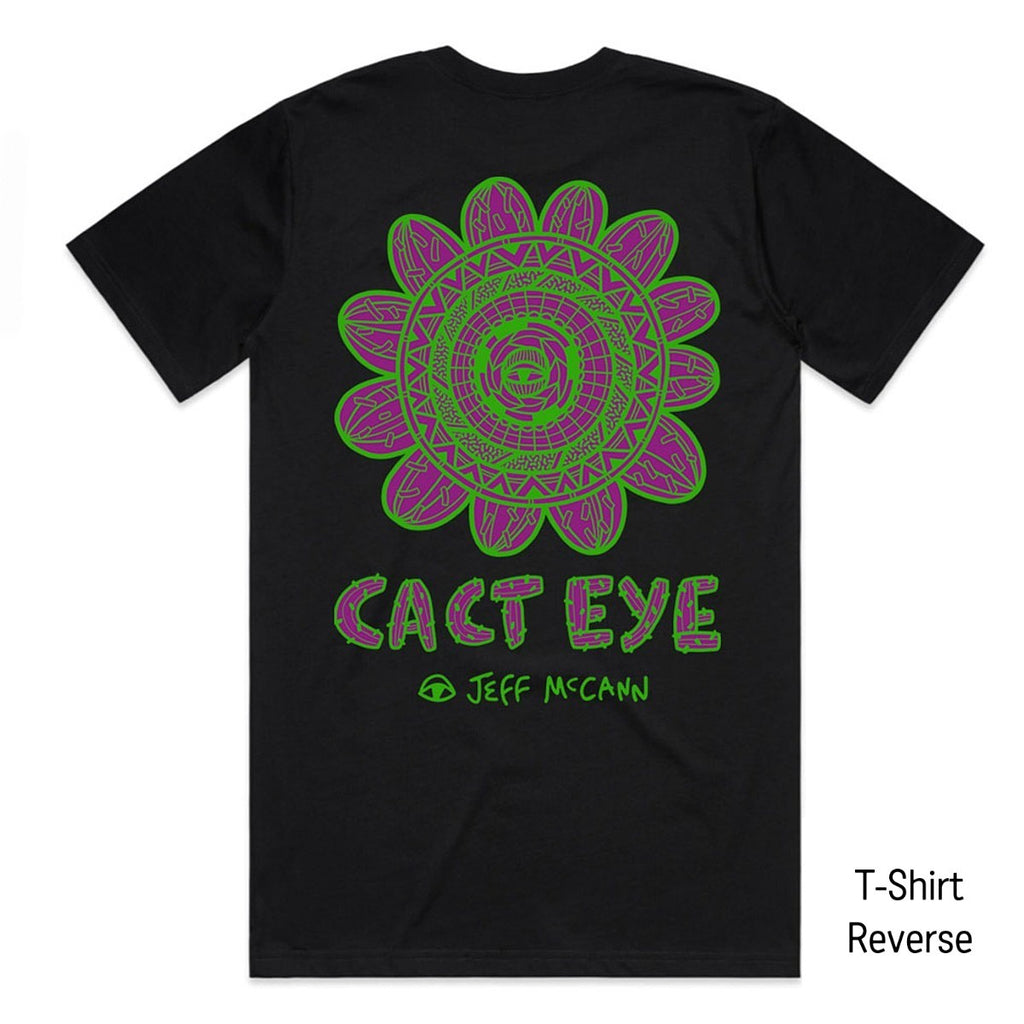 "A black T-Shirt featuring a bold circular Green and Purple work by Sydney artist Jeff McCann featuring eyes, cactuses, and bold abstract patterning. Text reads ""CACT EYE Jeff McCann"" in a Cactus inspired font."