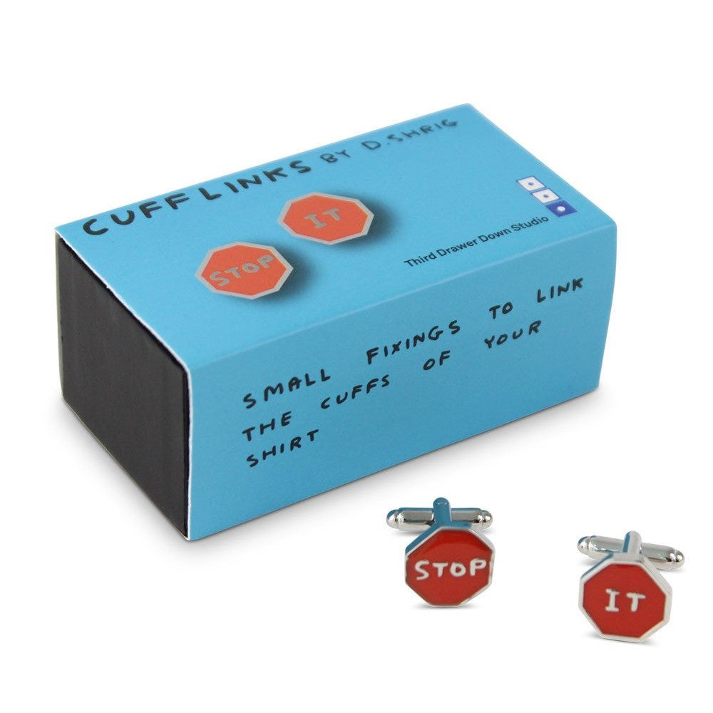 Cufflinks Stop It x David Shrigley