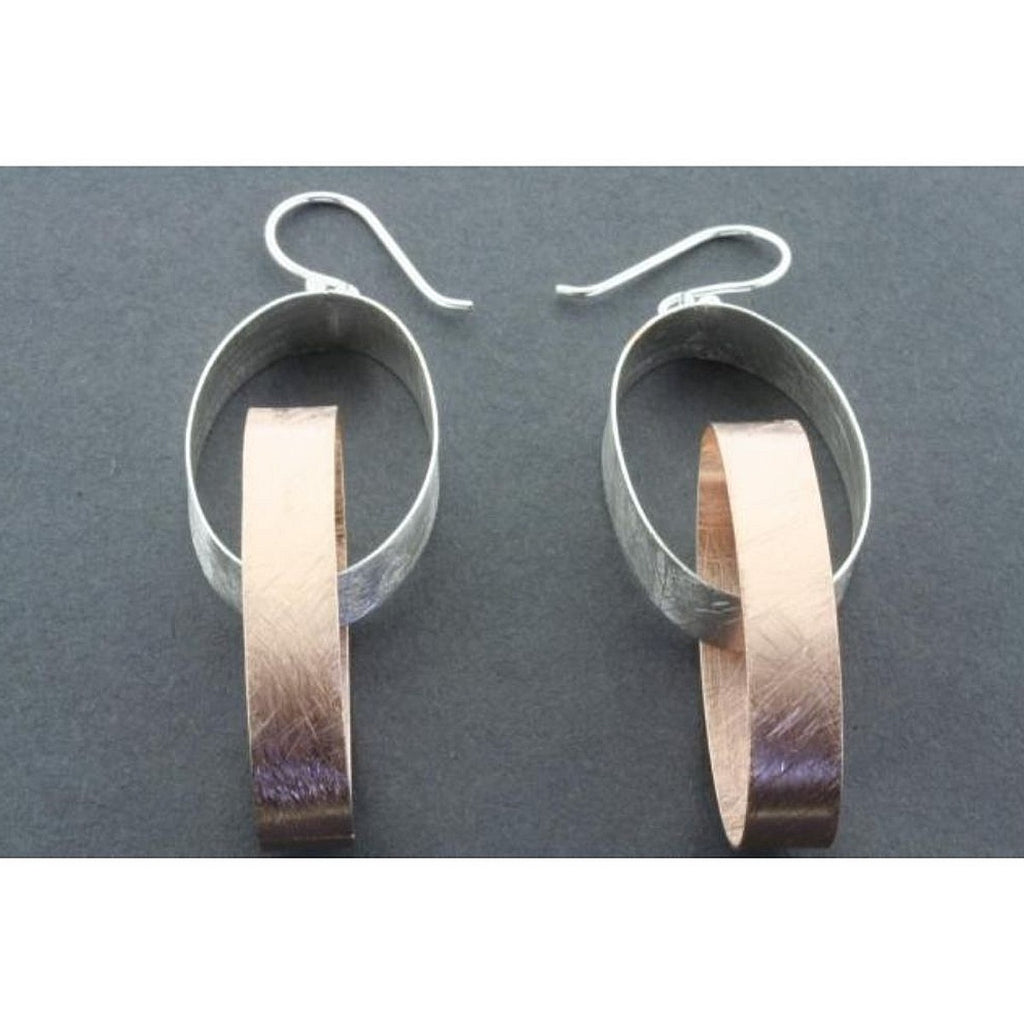 Earrings | Sterling Silver & Rose Gold | Double Oval Ribbon