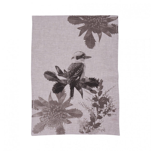 Tea Towel Kooka Waratah Black