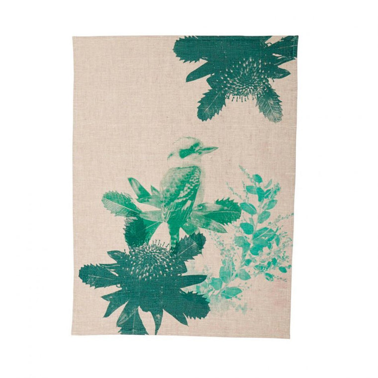 Tea Towel - Kooka Waratah Green