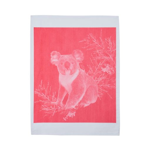 Tea Towel Koala Pink Cotton